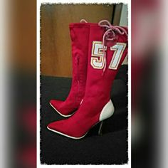 """HP 2-29-15 Sports fans Madden boot This is a fun boot that you don't see every day. ISU  or KC Chiefs fans perfect for you. This boot has only been worn a couple times, I just never wear red bought only because they were different and cute. Fabric is stretchy and zips on the side and the ties at the top are strictly to add to the overall sports look. Number is in white , red, and yellow. Heel is 4"""" high and the tread on the bottom is white. Size 7. Top of boot measures 6' lying flat. EUC…"""