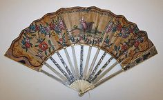 18th century, France - Fan - Ivory, metal, linen, leather