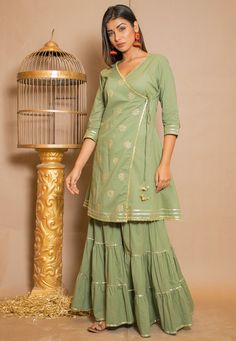 Angrakha Style, Shadi Dresses, Cotton Lace, Green Cotton, Sharara, Special Dresses, Types Of Dresses, Ahmedabad, Making Ideas