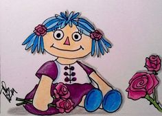 """Aceo Original  """"ROSE RAGGEDY DOLL""""  pencil/ink"""