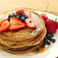 protein pancakes   - ¼ cup egg whites  - 1 packet Perfect Fit Protein  - ½ banana (mashed)  - 1 tsp cinnamon  - 1 tbs flaxseed