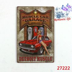2015NEW detroit muscle car garage detroit Motorcycle metal signs vintage Gallery Poster tps vintage Plaque Wall Decor Plate