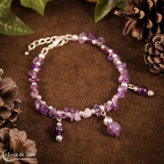 """Bracelet fait-main en pierres fines, améthyste - """"Amulette des Esprits"""""""