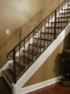 iron stair railings interior   Renovated Interior Railing