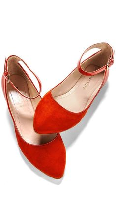 Red Ankle Strap Flats //