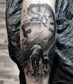 Znalezione obrazy dla zapytania stairs to clock tattoo Hook Tattoos, Daddy Tattoos, Family Tattoos, Watch Tattoos, Body Art Tattoos, Sleeve Tattoos, Tattoos For Guys, Tatoos, Father Son Tattoo