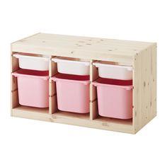 TROFAST Opbergcombinatie met bakken, grenen wit, roze 94x44x52 cm grenen wit/roze