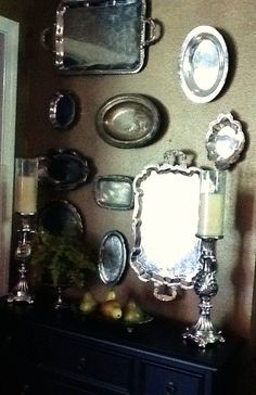 decorating with silver trays | old silver plate yard sale or Good Will trays hung on a wall ...