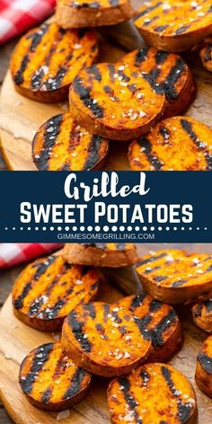 Grilled Sweet Potatoes are a quick and healthy side dish recipe made on your grill. Slice your sweet potatoes then toss with olive oil and seasonings. This recipe is perfect for summer grilling! #sweetpotatoes #recipe