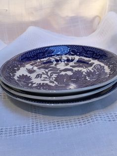 3 Blue Willow saucers, Willow Ware, Japan, Transferware  (BW-5) by farmhousefurnishings on Etsy