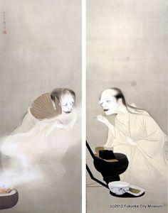 朝露・夕霧 / Evening dew - morning fog, 1948 by Yoshikawa Kanpo ...chatting Oiwa and Kiku ghosts