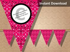 Go country with this watermelon hot pink bandana banner! Find more printable country western party decorations at CameoPartyDesigns.etsy.com #countrywesternparty #country #western #partydecorations