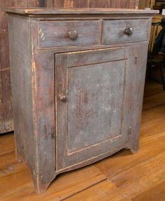 19th Century Blue Painted Pine Country Cupboard | From a unique collection of…