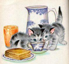 """The Kitten Twins"", Rand McNally Elf Book l #illustration"