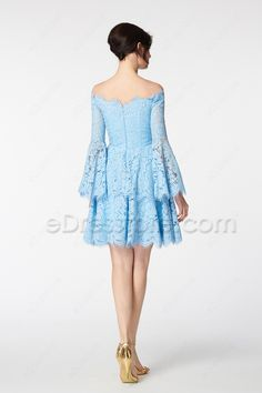 The light blue short prom dress features scalloped off the shoulder neckline, boho scalloped wide sleeves looks chic and pretty, tiered scalloped skirt finishing with above the knee length.