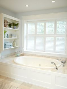Fascinating House Interior in Custom Style: Simple But Stunning Built In Bathtub In White With Open Shelving Above And Windows With Wooden Slats Nearby ~ CLAFFISICA Interior Home Inspiration