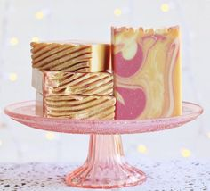 pink and gold handmade soap