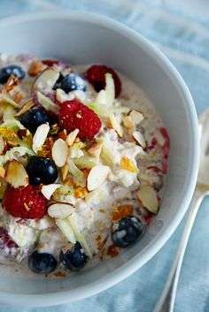 Swiss-style Bircher Muesli - one with almonds, blueberries and raspberries ( http://fromthe-kitchen.blogspot.co.nz/2012/12/bircher-muesli-this-is-one-of-my-all.html )