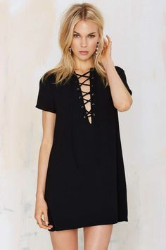 Black Lace-Up Shift Dress