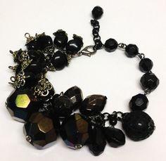 Upcycled  black beads charm bracelet by LovelyRuthies on Etsy, £5.00