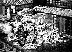 """Katawa-guruma from Shigeru Mizuki's """"Yokai Encyclopedia"""""""
