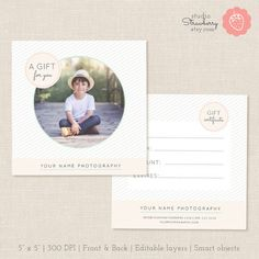 Photography Gift Certificate Template Photo by StudioStrawberry