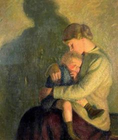 Mother And Child, Candlelight, William Rothenstein (1872 – 1945, English), I AM A CHILD, children in art history