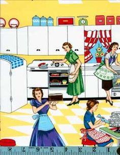 Home Ec Retro Kitchen Ladies, Michael Miller, Michael Miller Fabrics, Ladybutton Fabrics