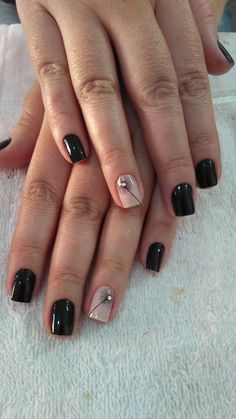 The black nail designs are stylish. It is loved by beautiful women. Black nails are an elegant and chic choice. Color nails are suitable for… SEE DETAILS French Nail Designs, Black Nail Designs, Acrylic Nail Designs, Nail Art Designs, Acrylic Nails, Nails Design, Fancy Nails, Cute Nails, My Nails