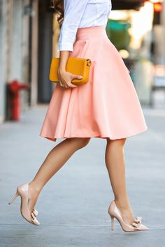 Salmon Skirt & Nude Bow Heels
