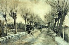 The Athenaeum - Road with Pollarded Willows and a Man with a Broom (Vincent van Gogh - )