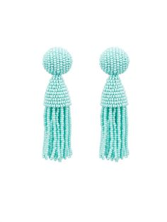 Classic Short Tassel Earrings - Oscar de la Renta $345.00 First spotted on the runway, these short beaded tassel earrings are sophisticated and glamorous. Designed in New York and handmade in India, these statement makers are a beautiful addition to any wardrobe. For the full expression, wear with the hair swept to the side.