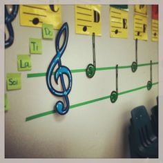 I did this in both of my classrooms: Electrical tape is a very inexpensive way to put a giant music staff on the wall. I start with only two lines for some simple Mi-Sol-La melodies and add more lines throughout the year. I also start with simple iconic representation for rhythms. As students become more confident in their pitch and reading, icons are exchanged for actual notes and sight singing is made easy, even for kindergarteners.