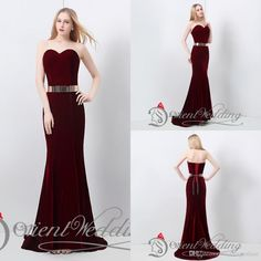 Hot Sale 2015 In Stock US4-US14 100% Real Pictures Mermaid Sweetheart Velvet Burgundy Metal Belt 48-hour Shipping Evening Party Prom Dresses, $64.09 | DHgate.com