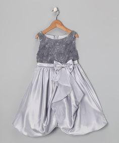 Silver Rosette Gathered Dress - Toddler & Girls