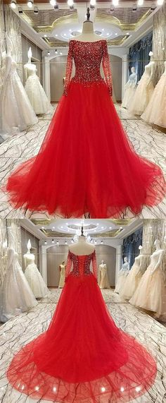 Red Round Neck Long Sleeves Tulle Wedding Dresses Bride Gown With Rhinestones Inexpensive Bridesmaid Dresses, Cheap Wedding Dresses Online, Pink Wedding Dresses, Affordable Wedding Dresses, Cheap Prom Dresses, Trendy Dresses, Tulle Wedding, Dress Wedding, Prom Dresses Long With Sleeves