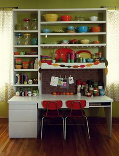 cheery green kitchen- why not add tons of color to make it a happy space- you've got the green covered.....