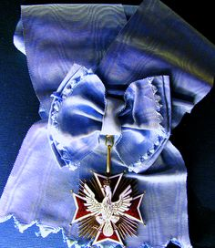 Sash/medal from Order of the White Eagle from Poland. Bronislaw Komorowski is the Grand Master of the Order which is the highest order given to Military and civilians based on their merits.