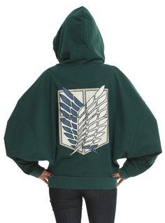How cute is this?  It even has dolman sleeves!  Attack On Titan Scout Regiment Costume Girls Zip Hoodie | Hot Topic