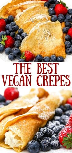 This recipe for easy vegan crepes will amaze you!  They are light, lacy, and delicate and even though they are egg-free, they have an authentic taste and texture.  Whether you want savory or sweet crepes, this is the recipe that you've been looking for.