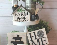 Tiered Tray Decor Rae Dunn Inspired Tiered Tray Set | Etsy #LaminateTileFlooring Chicken Signs, 3d Signs, Farmhouse Signs, Farmhouse Decor, Farmhouse Ideas, Farmhouse Style, Wood Wreath, Wood Knife, Coffee Bar Signs