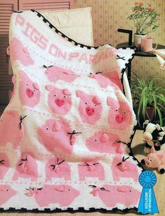 I need to learn how to do this one! 25 Best Afghan crochet Patterns~Pig's on Parade~Butterfly~Cat~Roses & Ribbons - Afghans Crochet Pig, Crochet Afgans, Manta Crochet, Baby Blanket Crochet, Crochet Crafts, Crochet Projects, Cot Blankets, Pig Crafts, Pigs In A Blanket