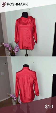 Silky Red Blouse With Bow Detail In excellent condition. Super cute! Tops Blouses