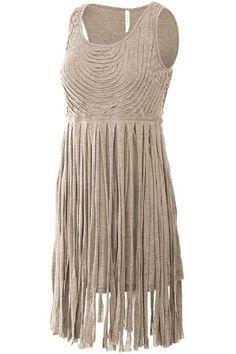 Khaki fringe dresswith textured detailing on the bodice.   Vibe Fringe Dress by Amy's Allie . Clothing - Dresses Ohio