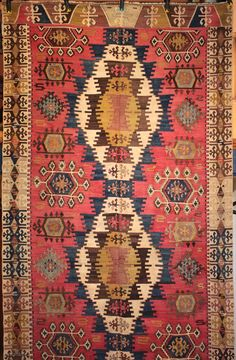 Finely woven and crisply drawn old east Anatolian kilim from Adana with an unusual and particularly lovely field background colour. In excellent usable condition. Size 442 x 156cm.  For detailed photos, see the  ...