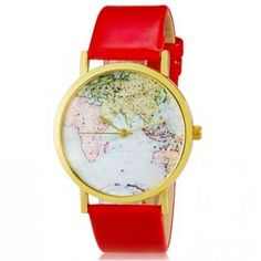 World map red leather watch