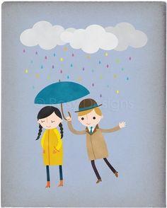 Rainy Day Love Customizable 8x10 Archival por rosydesignsonline