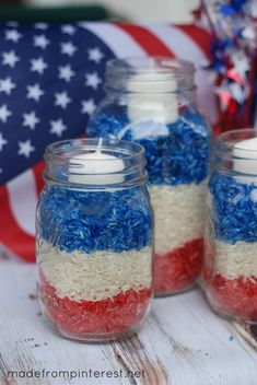 Super easy 4th of July Mason Jar Candles. Made out of dyed rice. Your kids will LOVE making these!