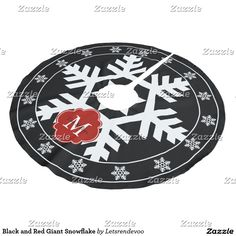 Black and Red Giant Snowflake Brushed Polyester Tree Skirt