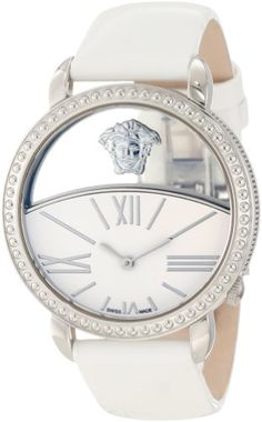 Versace Women's 93Q99D02C S001 Krios White Enamel and Transparent Dial Patent Leather Watch | Your #1 Source for Watches and Accessories